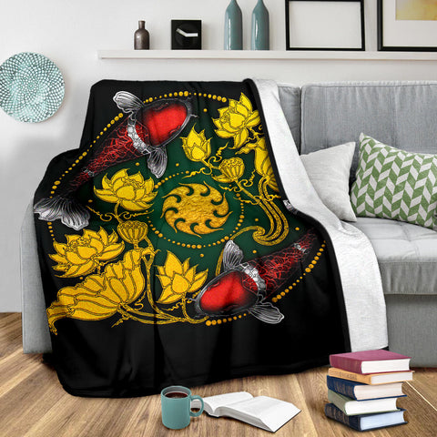 Image of Koi Fish Premium Blanket - Lotus Koi Fish Yin Yang - BN02