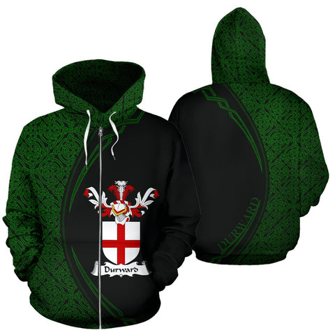 Image of Durward Family Crest Zip Hoodie Irish Circle Style Hj4