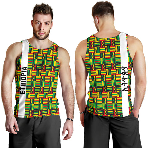 1stTheWorld Ethiopia Men Tank Top, Ethiopia Stripe African Pattern A10