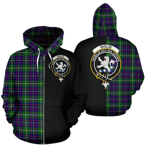 (Custom your text) Inglis Modern Tartan Hoodie Half Of Me TH8