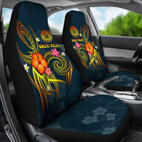 Image of American Samoa Polynesian Personalised Car Seat Covers - Legend of American Samoa (Blue)
