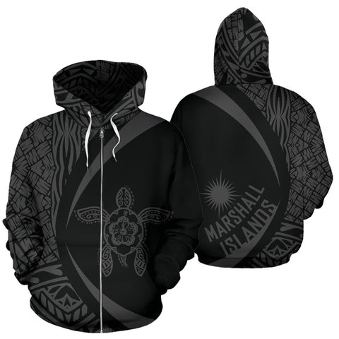 Image of Marshall Islands Turtle Polynesian Zip Up Hoodie - Circle Style 07 J9