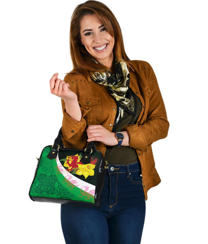 Image of Wales Celtic Shoulder Handbag - Welsh Cymru Daffodil Flowers