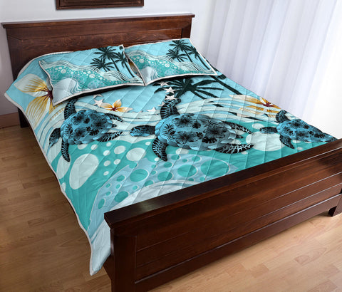 Cook Islands Quilt Bed Set - Blue Turtle Hibiscus A24
