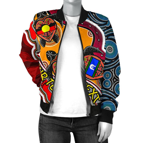 [Custom] Australian Women's Bomber Jacket - Australian Aboriginal Dots With Turtle and NAIDOC Flags - BN19