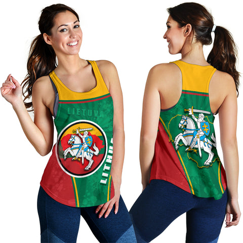 Lithuania - Lietuva Women Racerback Tank Circle Stripes Flag Proud Version K13