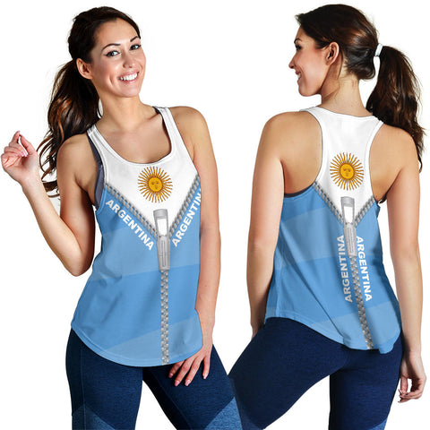 Argentina Women Racerback Tank With Straight Zipper Style K52