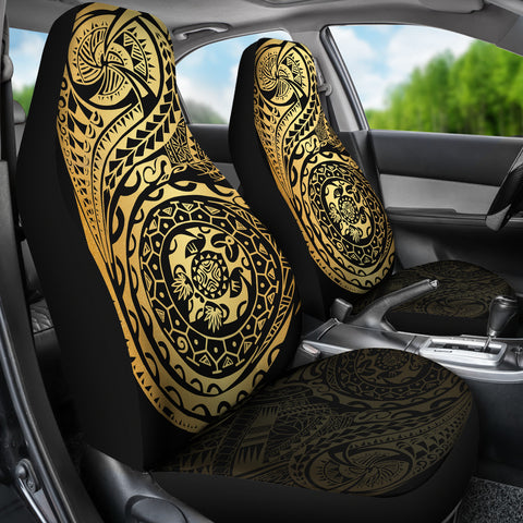 Polynesian Tattoo Style Car Seat Covers Luxury Golden A7