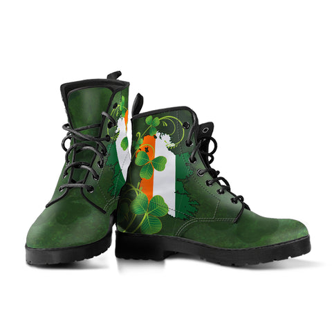 Ireland Flag Shamrock Learther Boots - J4