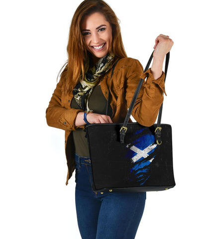 Scotland in Me Small Leather Tote - Special Grunge Style A7