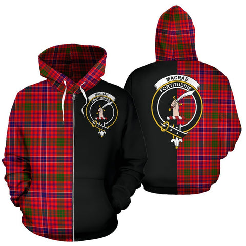 (Custom your text) MacRae Modern Tartan Hoodie Half Of Me TH8