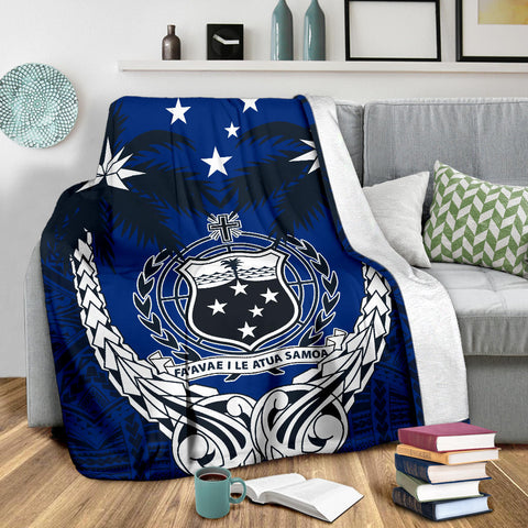 Samoa Polynesian Coconut Premium Blanket (Blue) | Love the World