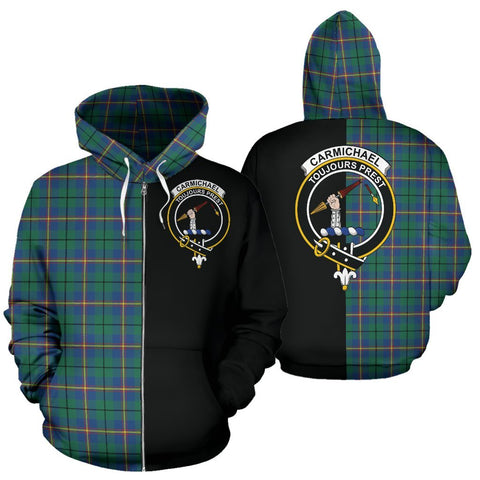 (Custom your text) Carmichael Ancient Tartan Hoodie Half Of Me TH8