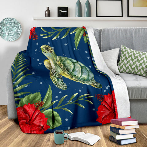 Hawaiian Turle And Red Hibiscus Premium Blanket |Home Set | 1sttheworld