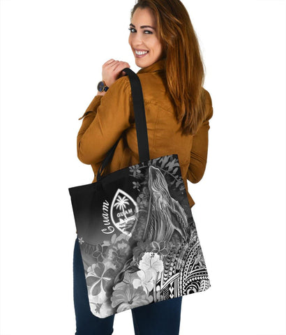 Guam Tote Bags - Humpback Whale with Tropical Flowers (White)