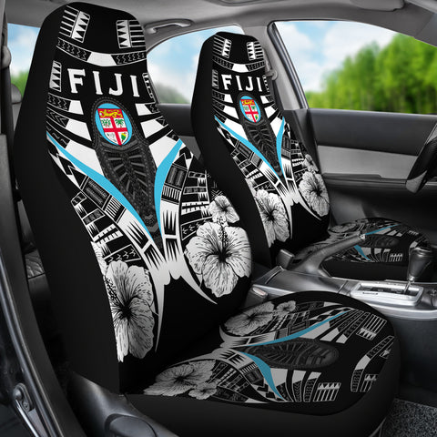 Fiji Tattoo Car Seat Covers Hibiscus - Black White Color 3