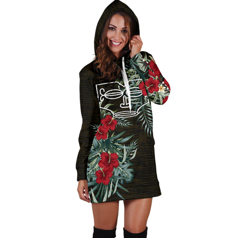 Image of Marquesas Islands 1 Hibiscus Hoodie Dress A7