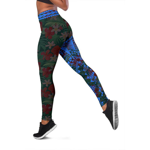 Image of Polynesian Leggings Hibiscus Blue A62