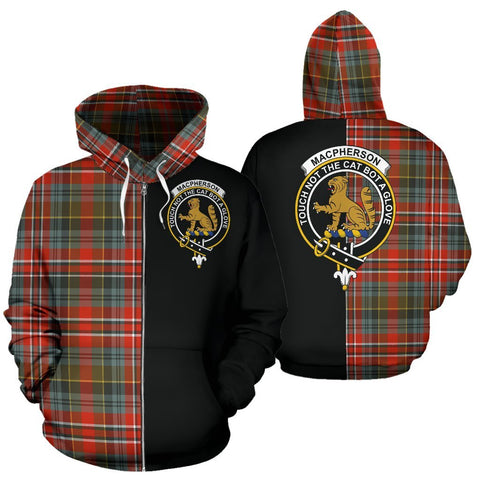 (Custom your text) MacPherson Weathered Tartan Hoodie Half Of Me TH8