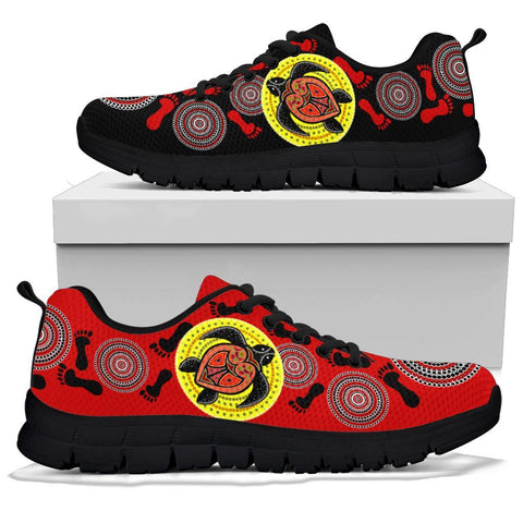 Australia Aboriginal Sneakers, Turtle Footprint Circle Dot Painting Ver 05