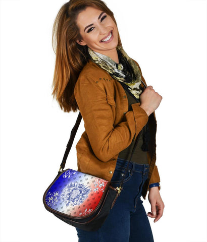"Image of France Saddle Bag - Iris Flowers ""Les Francais"" Flag"