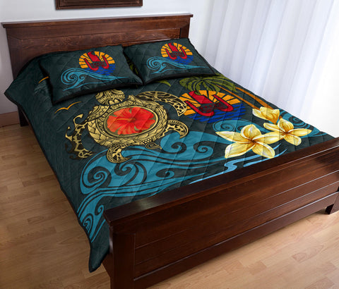 Image of Tahiti Quilt Bed Set - Coat Of Arm Turtle Hibiscus A24