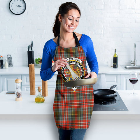 Image of MacPherson Weathered Tartan Clan Crest Apron HJ4