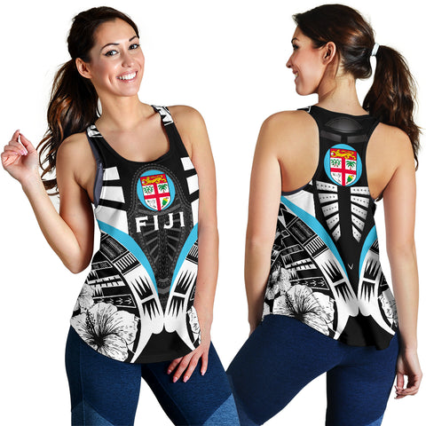 Fiji Tattoo Racerback Tank Hibiscus - Black White Color 3