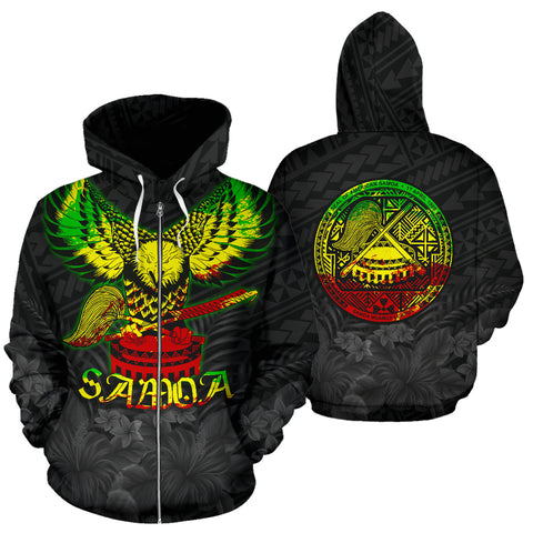 Image of American Samoa Eagle with Seal Zip Hoodie Rasta front ad back | 1sttheworld