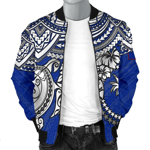 Chuuk Polynesian Bomber Jacket (Men) - White Turtle (Blue) - BN1518