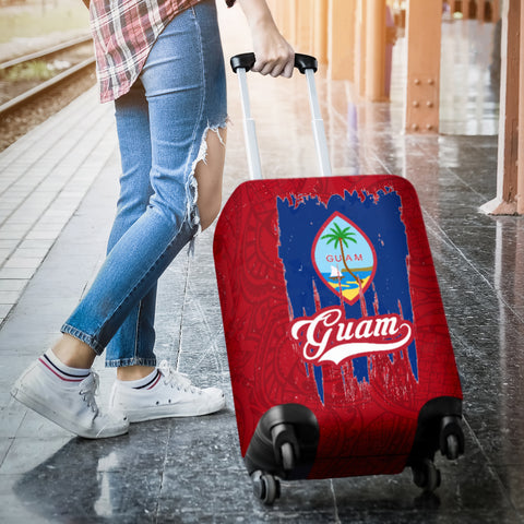 Image of Guam Flag Luggage Cover | Travel Suitcase Protector