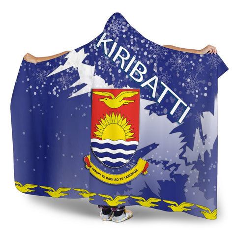 Kiribati Coat Of Arms Hooded Blanket - Blue - X Style