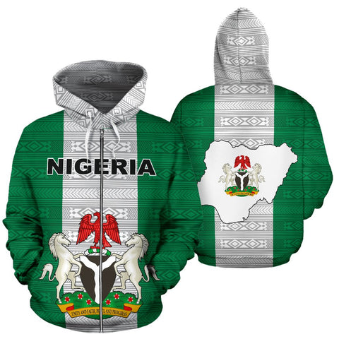 Nigeria All Over Zip-Up Hoodie - Flag And Coat Of Arm