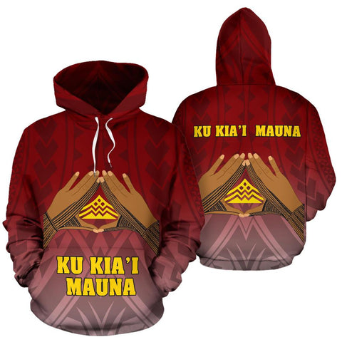 Hawaii Mauna Kea All Over Hoodie - Hand Sign Symbol - BN12