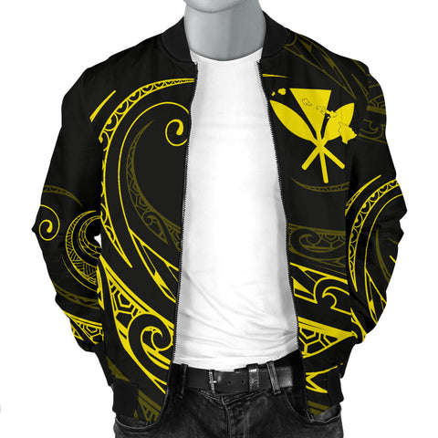 Kanaka Polynesian Men's Bomber Jacket - Yellow - Frida Style - AH J9