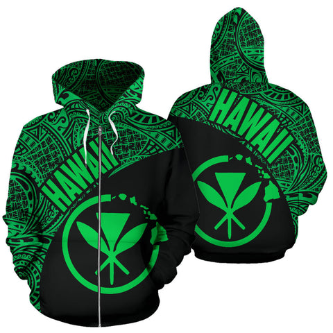 Hawaii Zip-Up Hoodie Maoli Polynesian Black Green Version Font