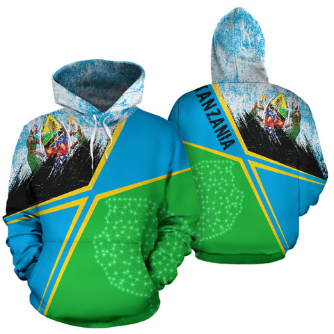 Image of Tanzania Hoodie - X Style - Light Blue mix - Front and Back - For Men and Women