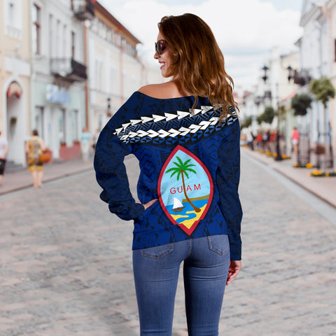 Guam Polynesian Women Off Shoulder Sweater - Vibes Version K8
