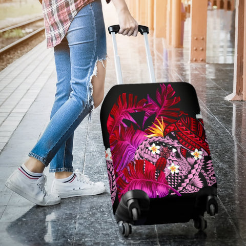 Image of Kanaka Maoli (Hawaiian) Luggage Covers, Polynesian Pineapple Banana Leaves Turtle Tattoo Pink