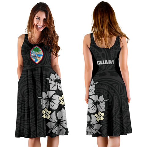 Image of Guam Gray Hibiscus Women's Dress A02