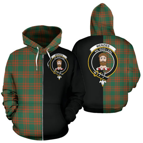 (Custom your text) Menzies Green Ancient Tartan Hoodie Half Of Me TH8