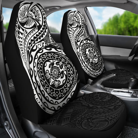 Polynesian Tattoo Style Car Seat Covers White A7
