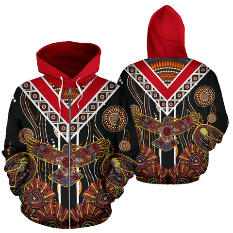 Crow Australia Aboriginal Zip Hoodie - Art Color - For Man And Woman