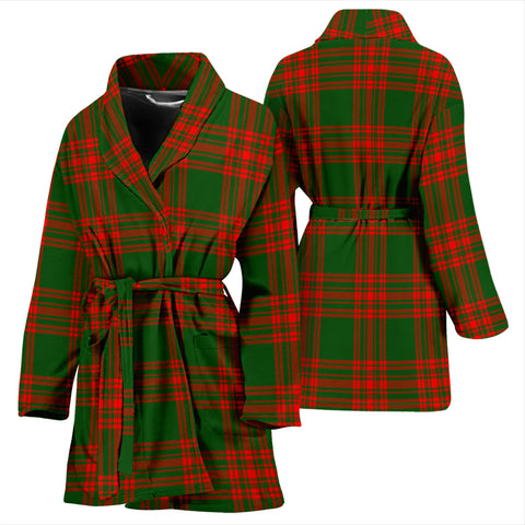 Image of Menzies Green Modern Bathrobe - Women Tartan Plaid Bathrobe Universal Fit