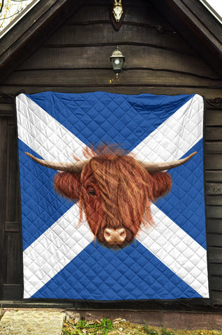 Scotland Flag And Cow Premium Quilt | Blanket | Home Decor