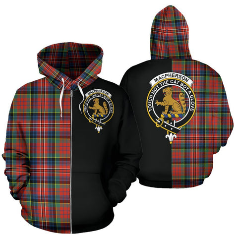 (Custom your text) MacPherson Ancient Tartan Hoodie Half Of Me TH8