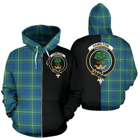 (Custom your text) Hamilton Hunting Ancient Tartan Hoodie Half Of Me TH8