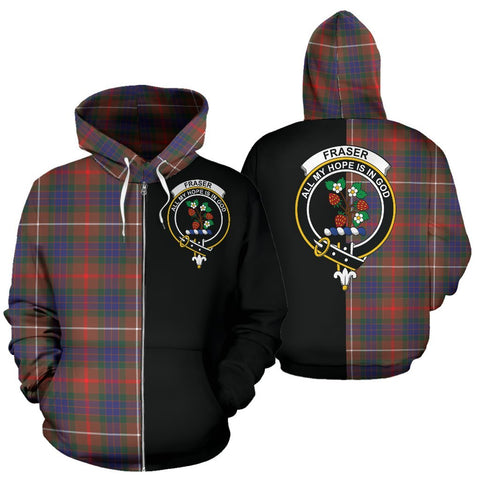 (Custom your text) Fraser Hunting Modern Tartan Hoodie Half Of Me TH8