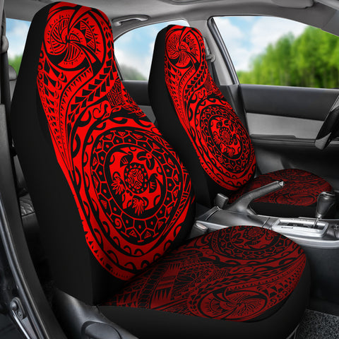 Polynesian Tattoo Style Car Seat Covers Red A7
