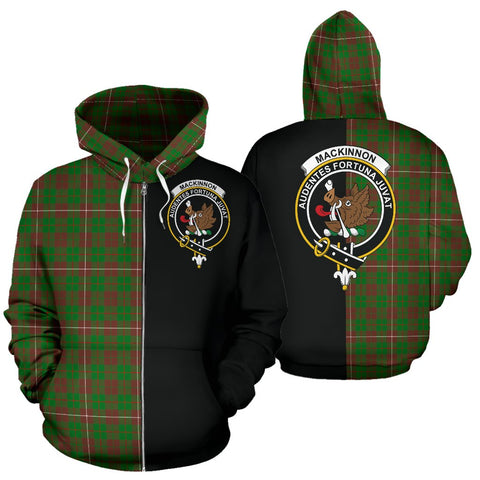 MacKinnon Hunting Modern Tartan Hoodie Half Of Me TH8